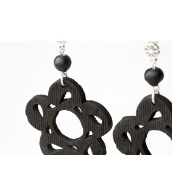Black Clay Pierced Flower Sterling Silver Earrings