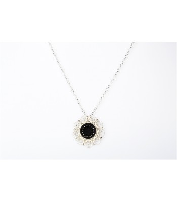 Black Clay and Multi-Circle Sterling Silver Necklace