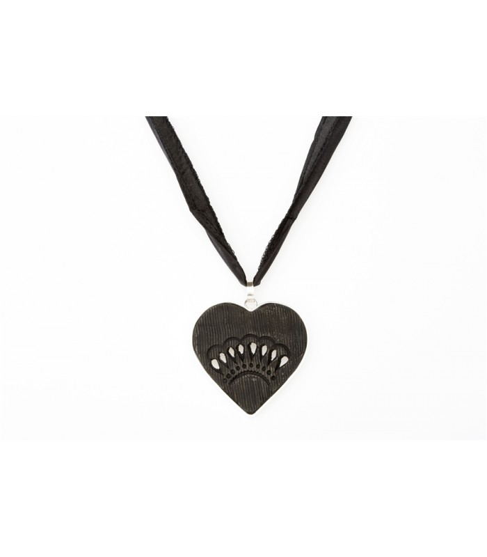 Black Clay Pierced Heart Sterling Silver Pendant