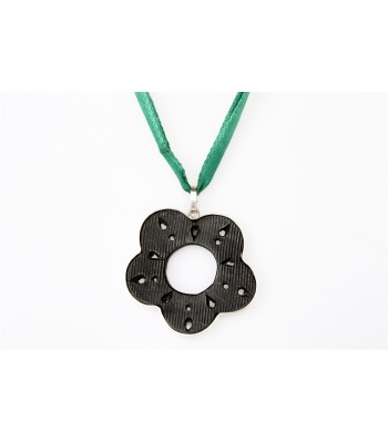 Black Clay Pierced Flower Sterling Silver Pendant