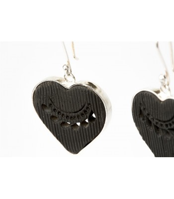 Black Clay Pierced Heart Sterling Silver Earrings