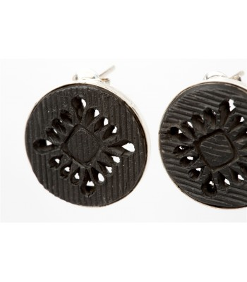 Black Clay Pierced Circle Sterling Silver Earrings