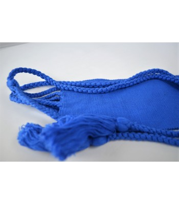 Blue cotton belt made with cotton, woven in a foot pedal loom