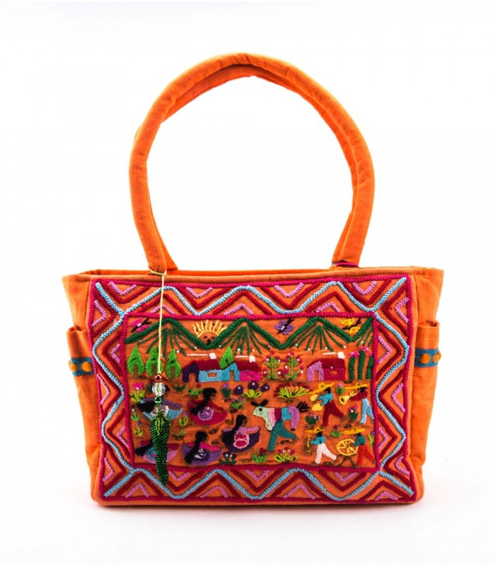 "Nativa Hand Embroidered Orange ""Vagon"" Bag"