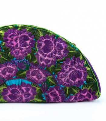Nativa Embroidered Half Moon Clutch in Purple and Moss Green