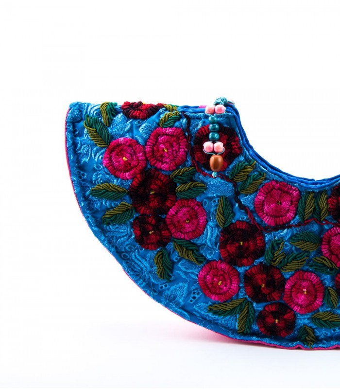 Nativa Hand Embroidered Half Moon Vessel Bag in Blue and Dark Pink