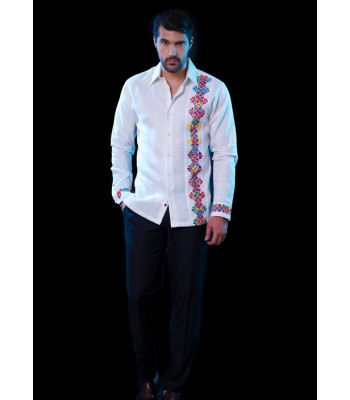 White Linen Chiapas Shirt with hand embroidery in bright colors, size 39.