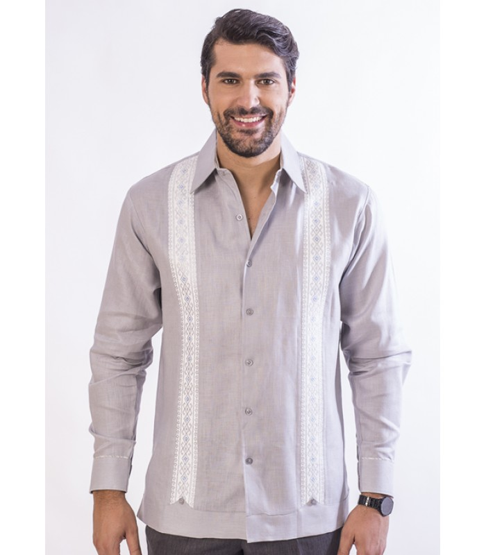 Gray Linen Chiapas Shirt with hand embroidery in bright colors, size 39.
