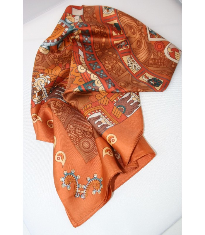 Stone of the Sun Pineda Covalin Large Silk Scarf in Terracotta