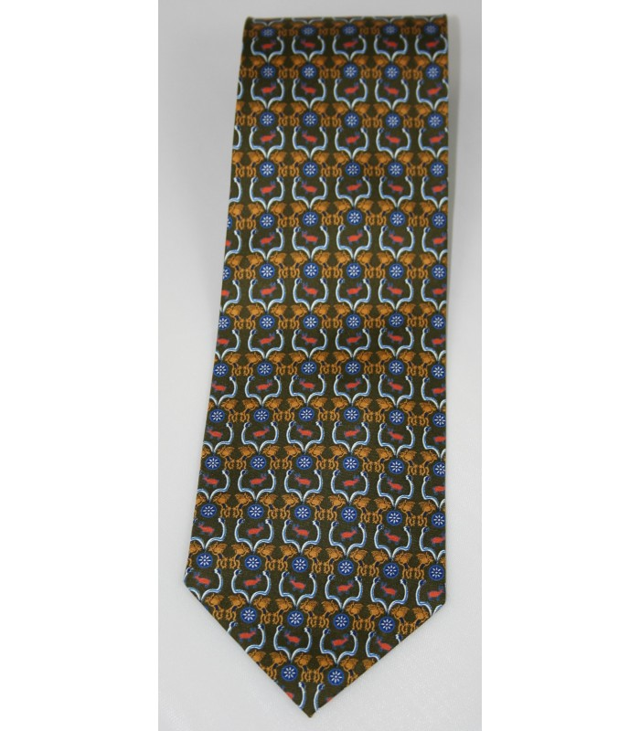 Huichol Pineda Covalin Silk Tie in Green