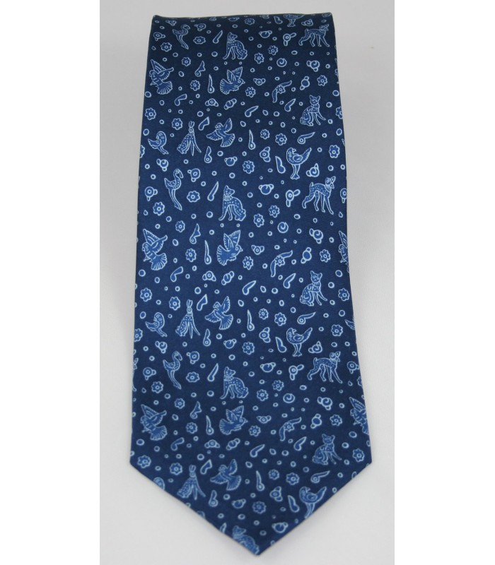 Olinala Pineda Covalin Silk Tie in Navy