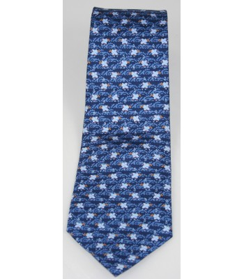Pre-Hispanic Fish Pineda Covalin Silk Tie in Blue