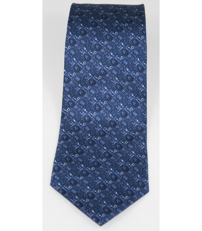 Mayan Writtings Pineda Covalin Silk Tie in Navy Blue