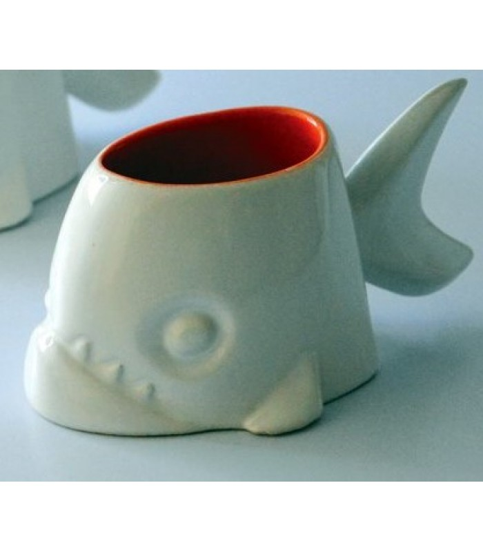 Piranha Mug in White and Red