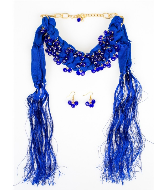 Cobalt Blue Rebozo with Beads Necklace with Matching Earrings
