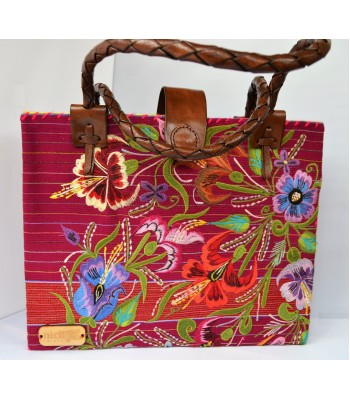 Medium purple tote bag from Zinacantán, Chiapas made in a foot pedal weaving loom