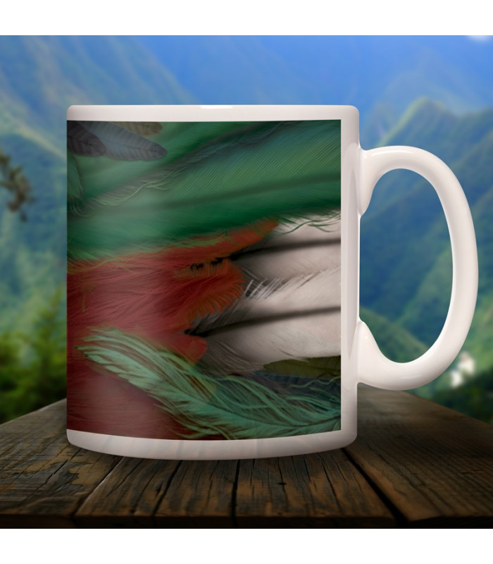 Quetzal collector's mug in ceramic with designs of the common animals found in Chiapas.