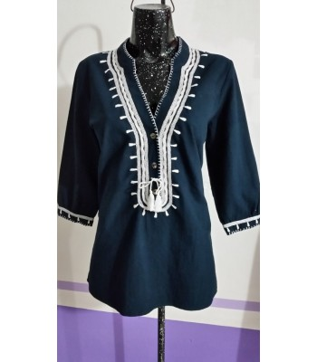 Medium blue manta cotton 3/4 sleeve placket blouse from the Highlands of Chiapas