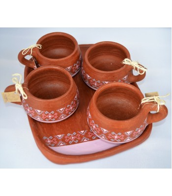 Tawa set of four cups and a serving plate made of red clay from Ocozocuautla de Espinoza, Chiapas.