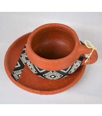 Nas set of cup and saucer made of red clay from Ocozocuautla de Espinoza, Chiapas.