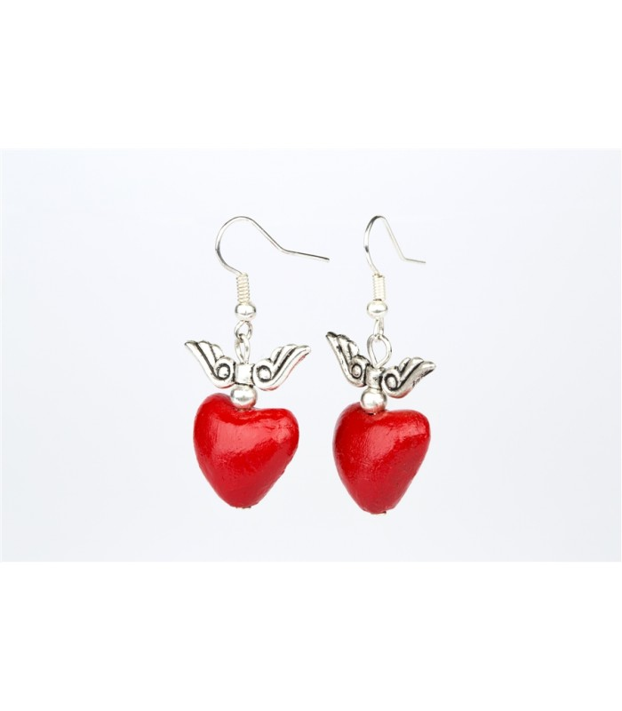 Medium Heart with Wings Earrings