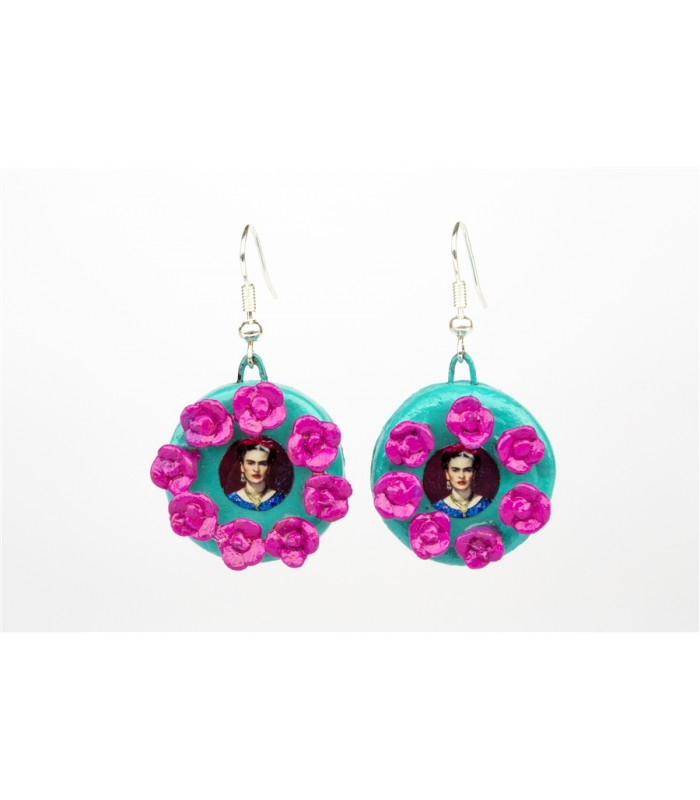 Frida Kahlo with Roses Round Earrings