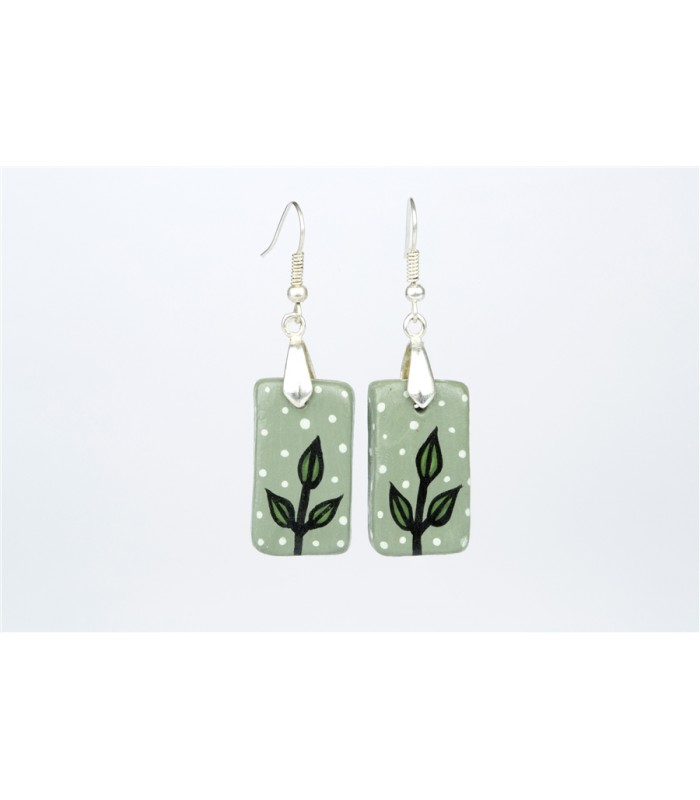 Grey with Leaves Earrings