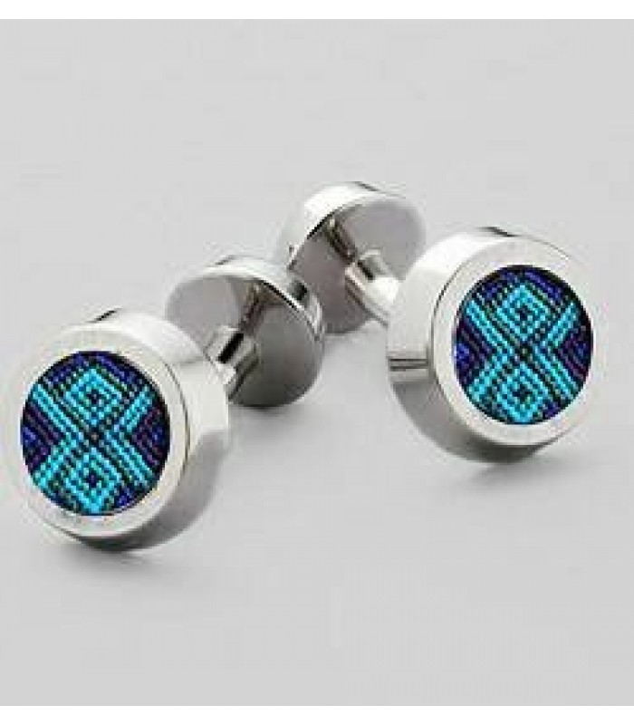 .950 silver Round Cufflinks with Embroidery from San Juan Chamula