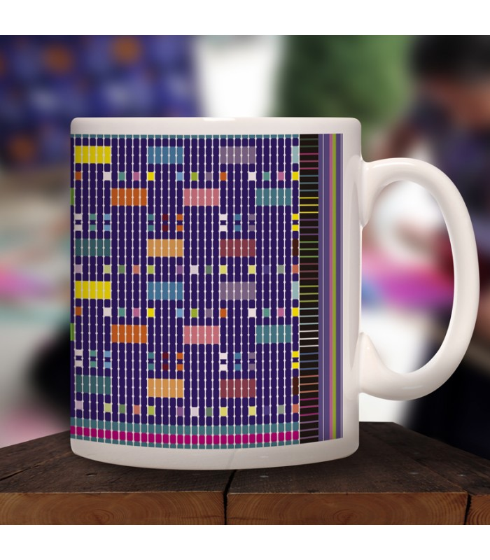 San Juan Cancuc collector's mug in ceramic with designs representing Chiapas textile styles.