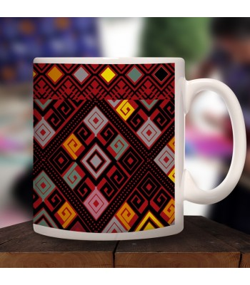 Santa Martha collector's mug in ceramic with designs representing Chiapas textile styles.