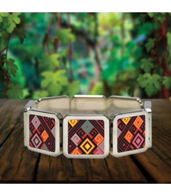 Santa Martha bracelet in stainless steel with designs representing Chiapas textile styles.