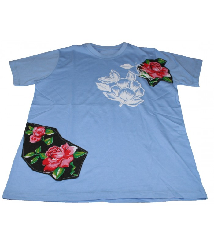 Sensacional Cotton T-shirt in Blue with Printed and Flower Patches