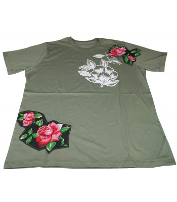 Sensacional Cotton T-shirt in Green with Printed and Flower Patches