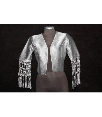 Artisela synthetic silk women's jacket, silver color, woven in a back strap loom.