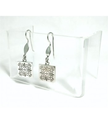 Short Talavera Sterling Silver Square Earrings