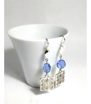Short Talavera Sterling Silver Square Earrings with Beads