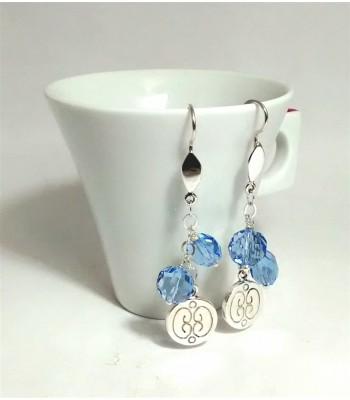 Long Talavera Sterling Silver Circle Earrings with Beads