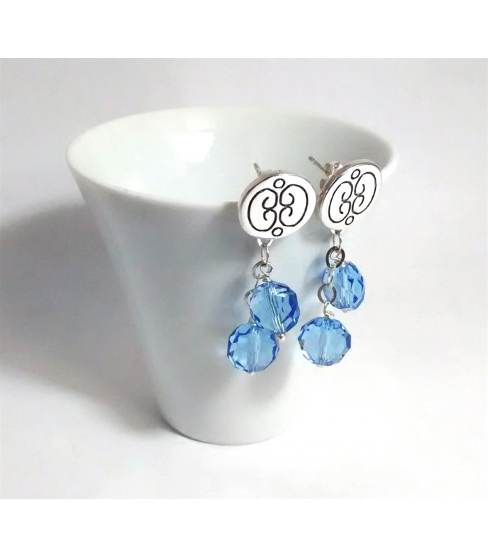 Short Talavera Sterling Silver Circle Studs with Beads