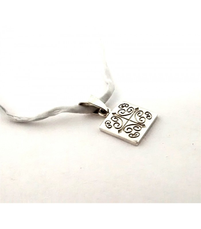 Talavera Sterling Silver Square Pendant with Silk Ribbon