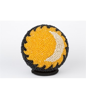 Handmade Large Sphere Covered with Seeds with Solar Eclipse Motif