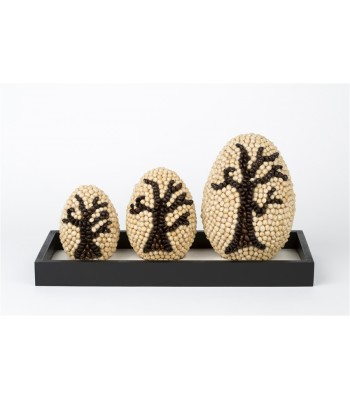 Handmade Set of Three Oval Shaped Ornaments Covered with Seeds with Tree Motifs and a Wooden Base