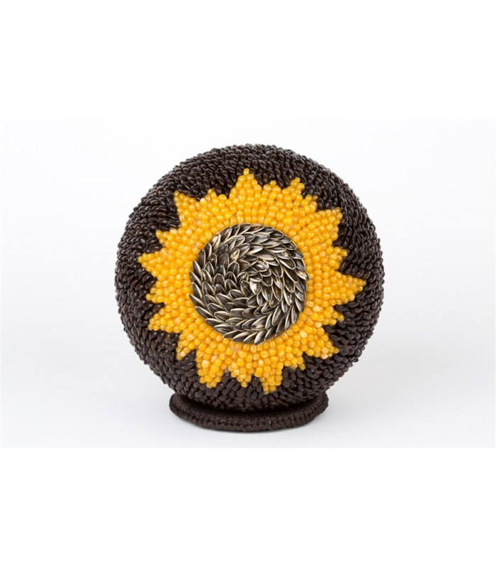 Handmade Large Sphere Covered with Seeds with a Sun Motif