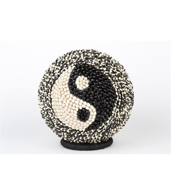 Handmade Large Sphere Covered with Seeds with a Yin & Yang Motif