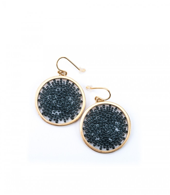 Upsala Medium Earrings in Gold Plated Bronze and Crystal Beads in Brown