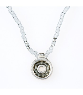 Iris Necklace with Crystal Beads in Gray