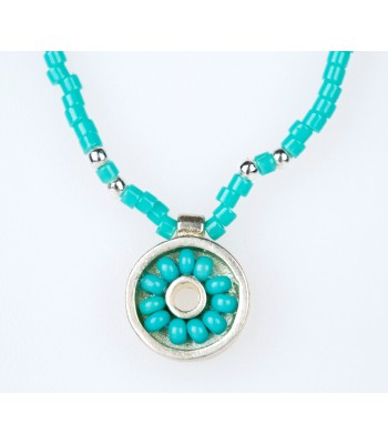 Iris Necklace with Crystal Beads in Turquoise