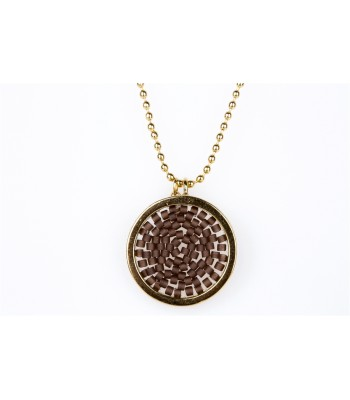 Upsala Small Pendant in Gold-Plated Bronze and Crystal Beads in Brown