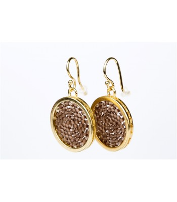 Upsala Small Earrings in Gold Plated Bronze and Crystal Beads in Brown