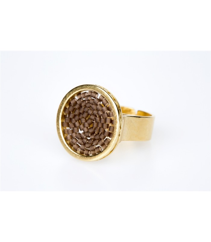 Upsala Small Ring in Gold-Plated Bronze and Crystal Beads in Brown