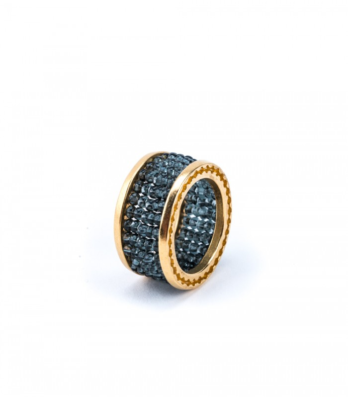 Gold-Plated Bronze Ring with Smoke Blue Crystals